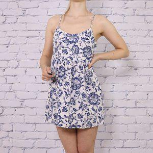 Design Lab white and blue floral mini sundress c1